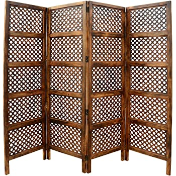 Artesia Wooden 4 Panel Carving Egg Jali Design Room Divider Wooden