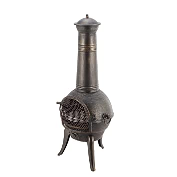 Mari Garden Castile XL - Chimenea de hierro fundido, 122 cm, brasero, calefactor