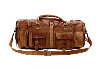 4935db9abcb8 Image Unavailable. Image not available for. Color  Vintage Duffel Bag  Travel Luggage Weekend Overnight Gym Genuine Leather Bag (Light Brown)