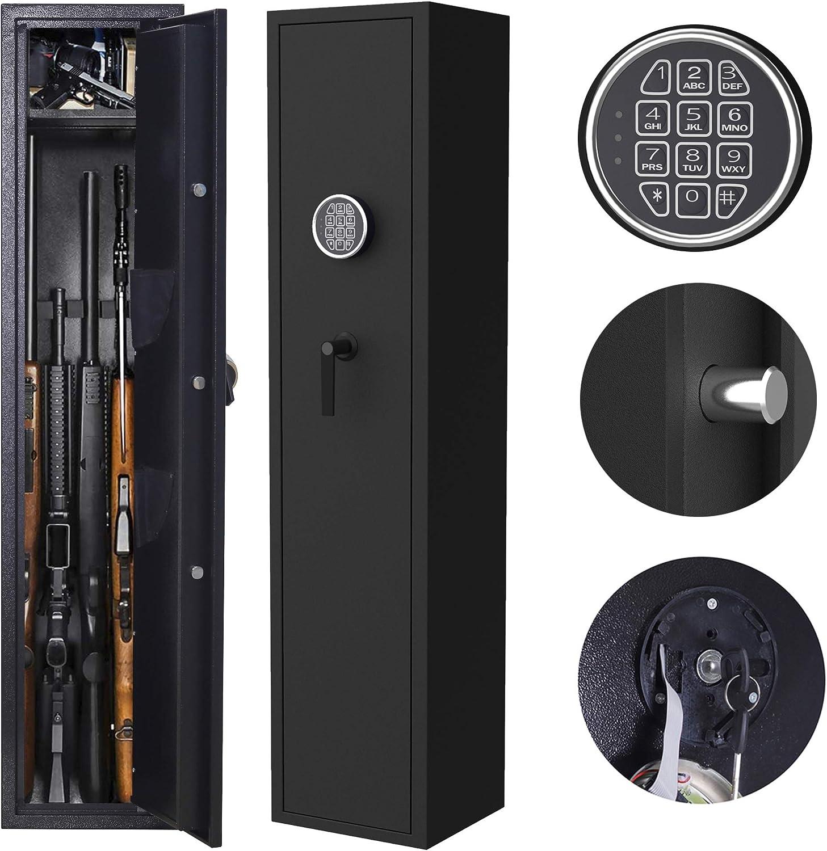ZONLESON Gun Safe, Rifle Safe Gun Storage Cabinet 4-5 Rifle and 2 Pistol with Digital Keypad Lock,Quick Access Electronic Firearm Gun Security Cabinet,Black
