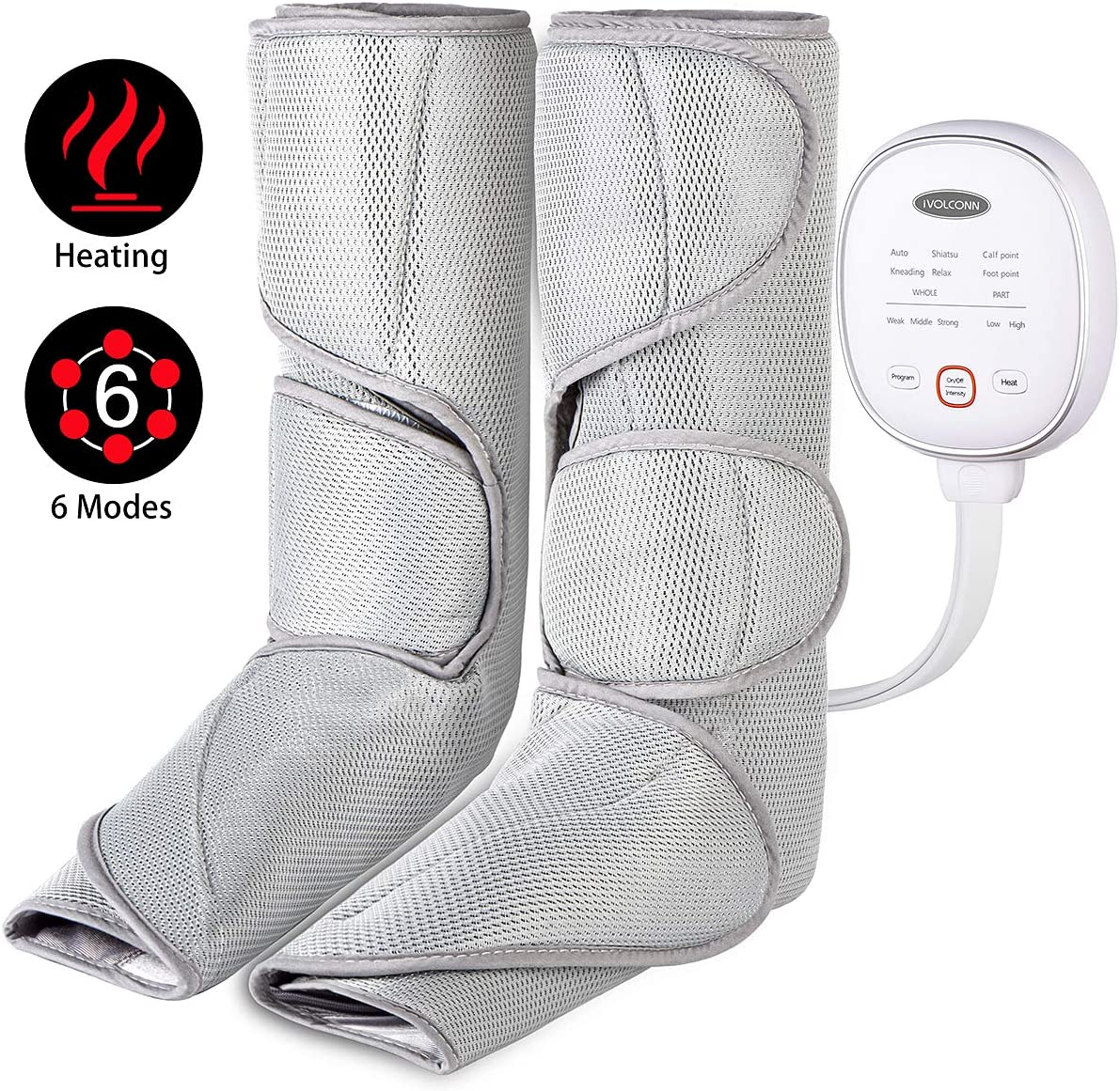 iVOLCONN Leg Massager with Heat for Circulation Air Compression Foot Calf Wraps Helpful for RLS and Edema