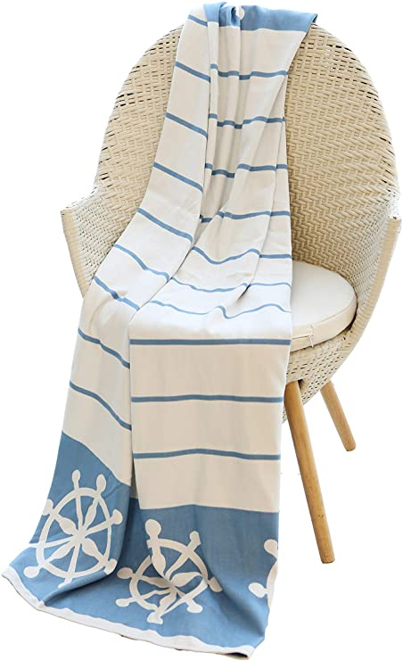 """Mika Home Nautical Reversible Cozy Bamboo Fiber Oversized Throw Blanket for Couch, Sofa, Travel, 50X70"""", Blue, White"""