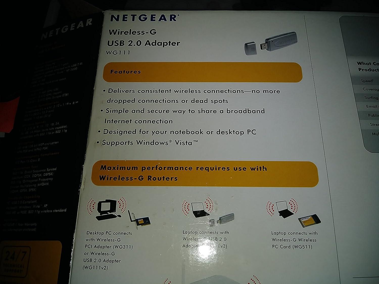NETGEAR WG111 inalámbrico USB 2,0 Adaptador Tarjeta de Red