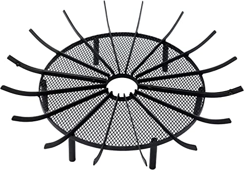Aoodor Outdoor Fire Pit Grate Log Round 36″ Kindling Tools Round Spider Wire Net Support Base Firewood Grates Complimentary Tongs Black Color