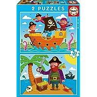 Educa - Piratas, 2 Puzzles infantiles de 20 piezas, a partir de 3 años (17149)