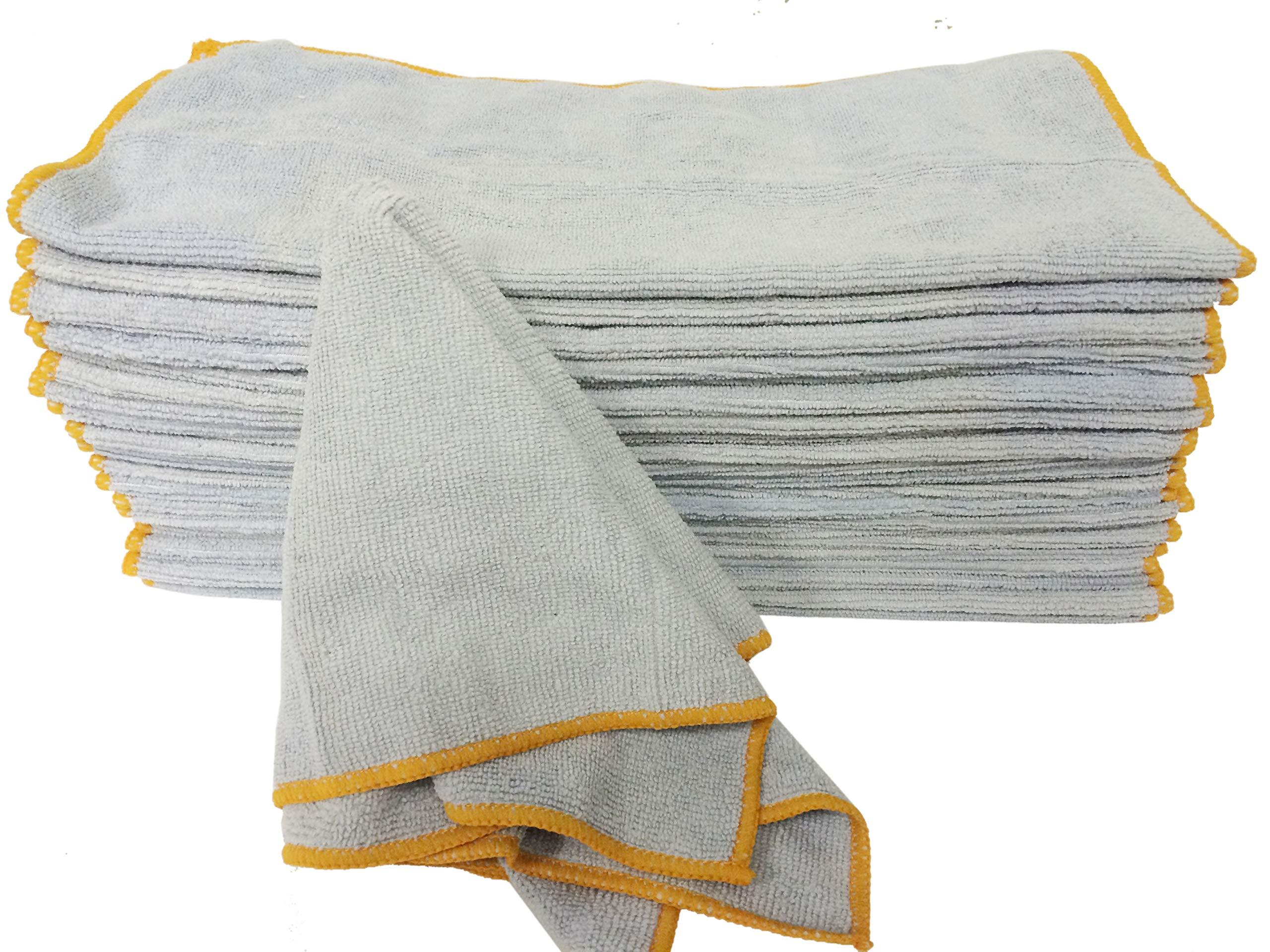 ATLAS ''B Grade Bulk Microfiber 300 Pieces Towel Cloth - Gray, Size 13x13 - for Auto, Home, Office, Restaurant, Salon, Spa and Garage - Lint-Free