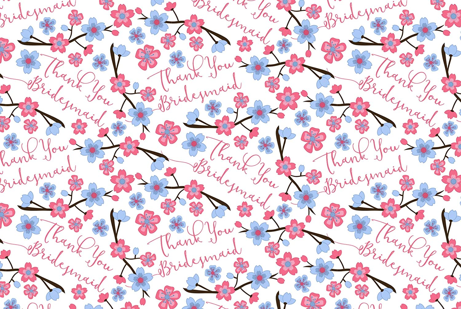 'Thank You Bridesmaid' Quality Gift Wrapping Paper & Gift Tag (2 Sheets & 2 Gift Tags) Hunts England