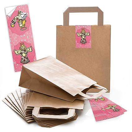 10 Kleine marrón papel de bolsas de transporte con asa de ...