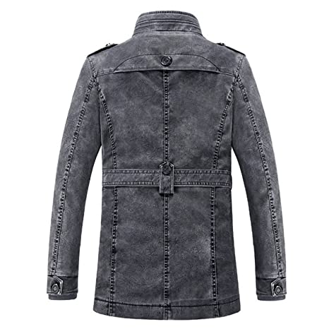 96f5533191 Joseph Papa Leather Jacket Men s Long Wool Leather Standing Collar Jackets  Mens PU Leather Jackets and Coats at Amazon Men s Clothing store