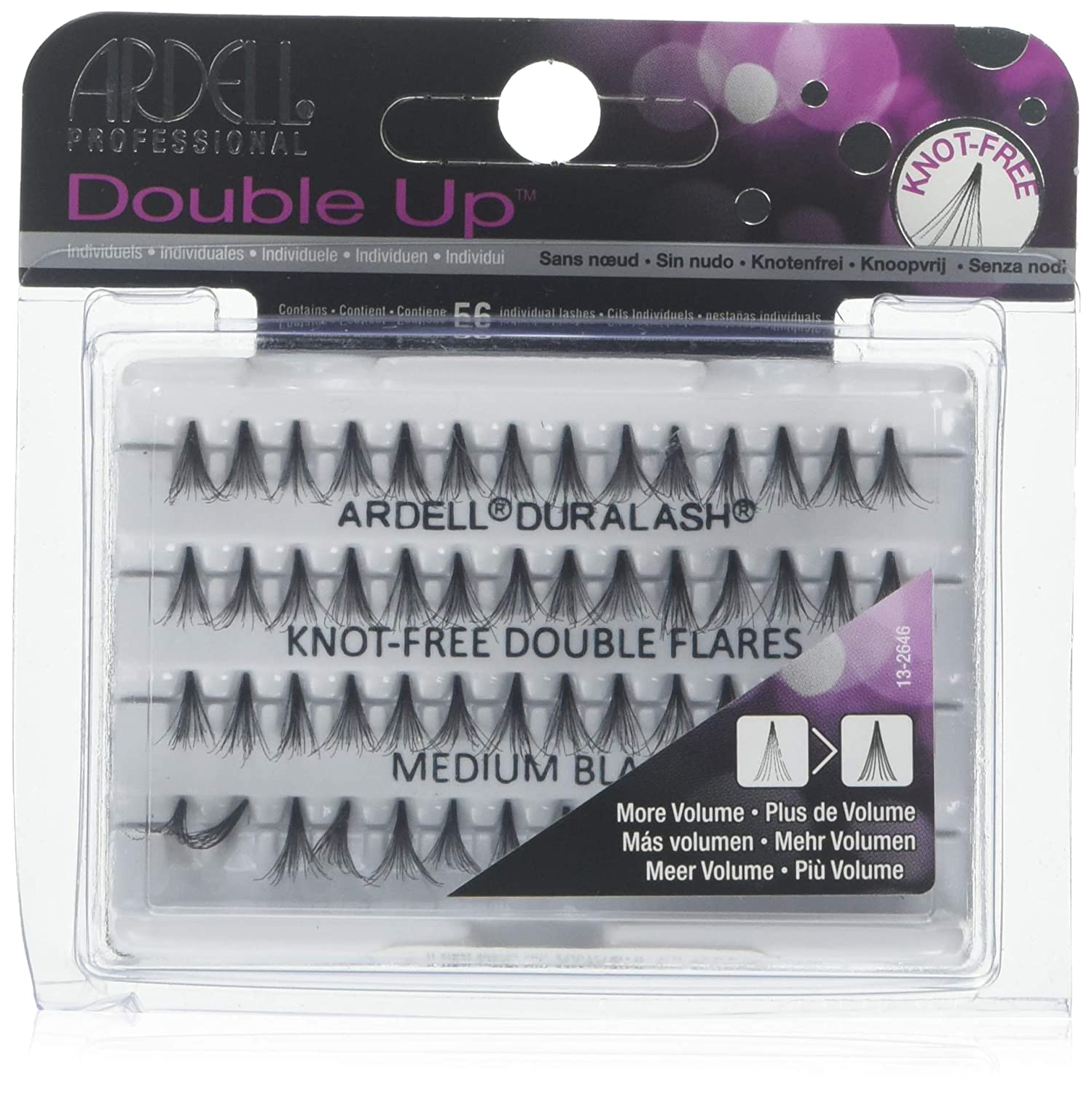 34488440e4e Amazon.com : Ardell Double Individuals Knot Free Double Flares Black Med (3  Pack) : Beauty