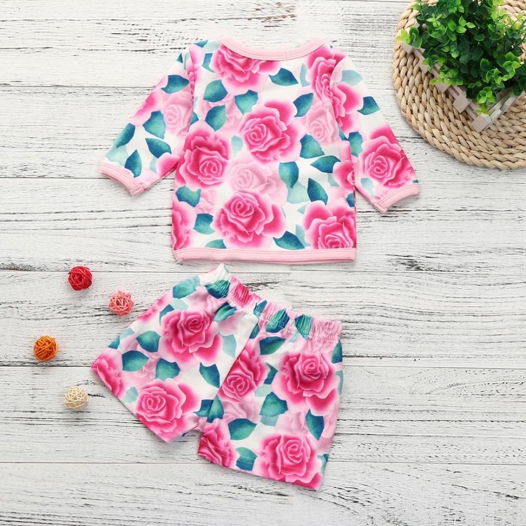 iumei Baby Newborn Girls Flower Print Long Sleeve Blouse Tops+Shorts 2PCS Clothes Sets