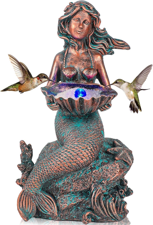 Mermaid Sitting on Rock Statue Decorations Animals Bird Bath Feeder Garden Statue Light Up Figurines Princess Ornament Indoor Outdoor Sculpture Gift for Home Yard Patio Decor