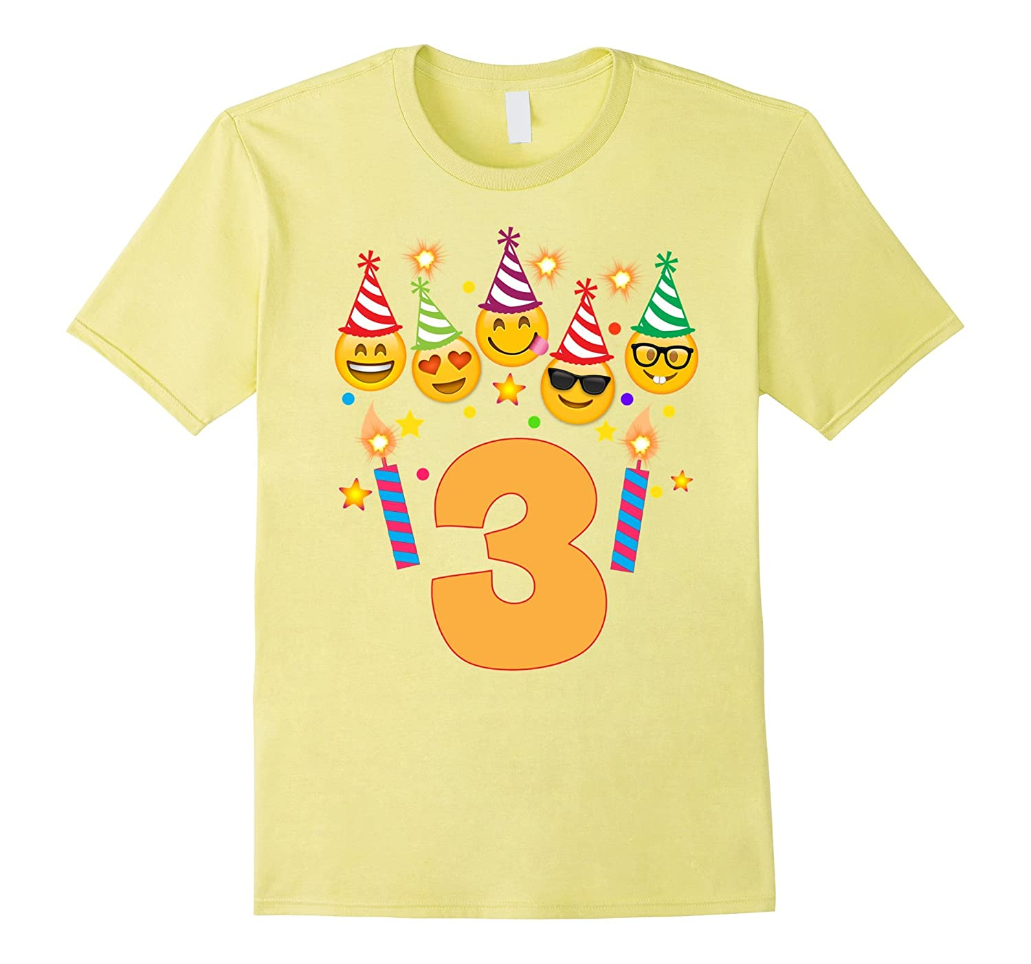 Emoji Birthday Shirt For Three 3 Year Old Girl Boy
