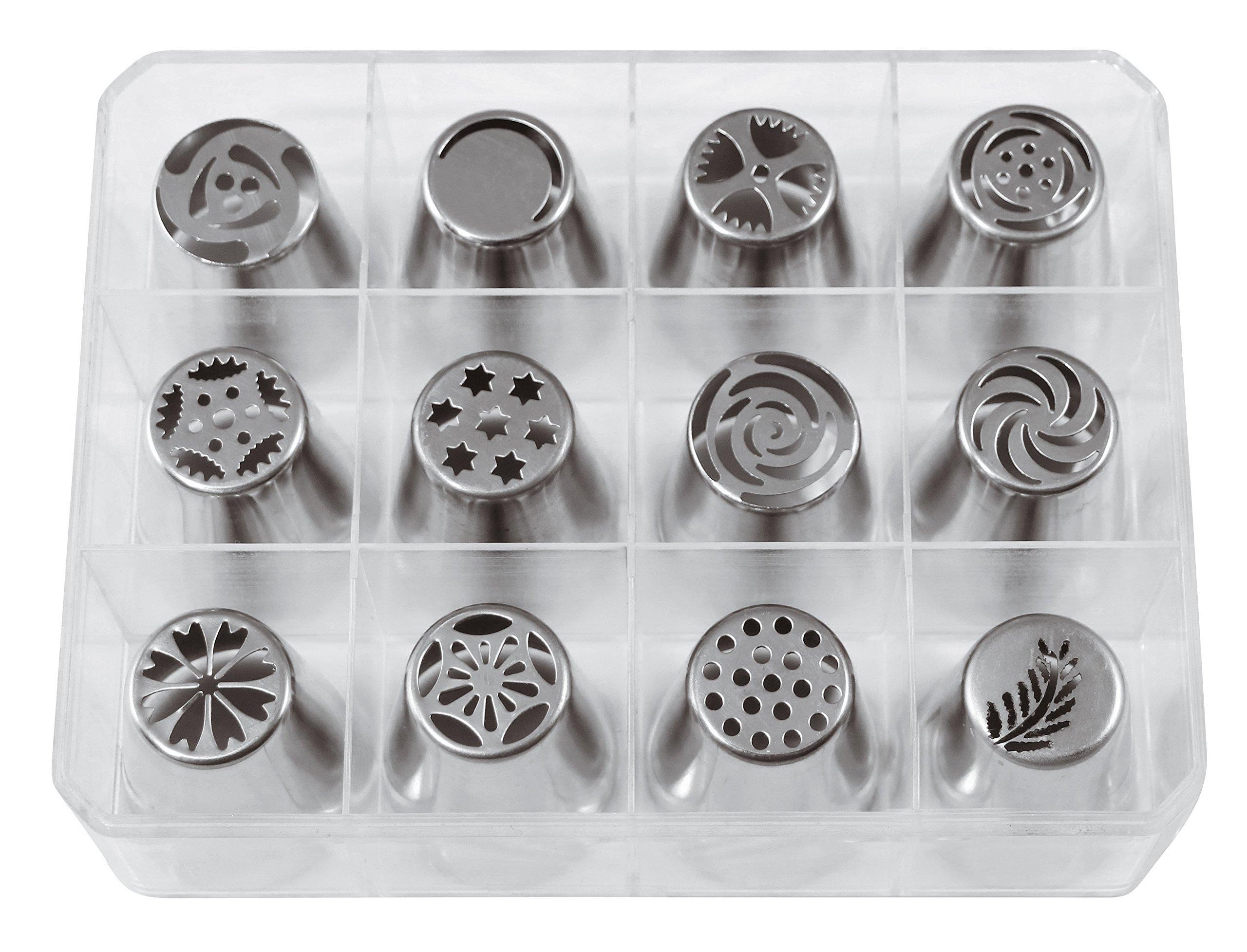 Paderno World Cuisine 47357-38 Drop Flower Tip Set Medium Gray