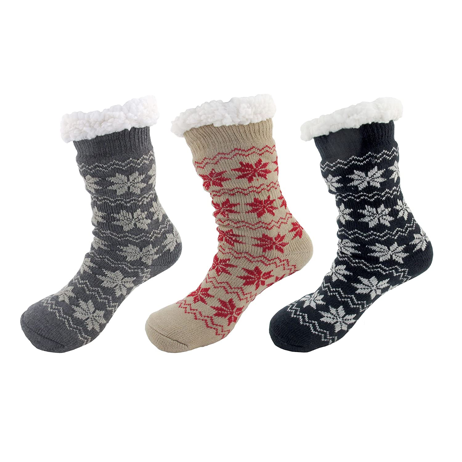 fb97fbb8a Extra Thick Soft Warm Cozy Fuzzy Thermal Cabin Fleece-lined Knitted  Non-skid Crew Socks -Assortment B - 3 pairs at Amazon Women s Clothing  store