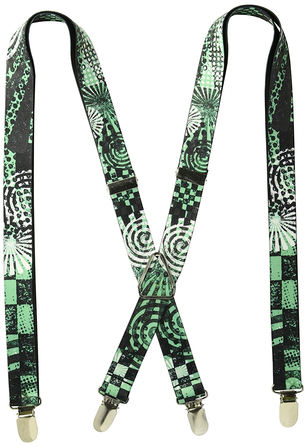 Black Green Checkers Stripes Polka Dots Symbols Suspenders Buckle Down SP-W30722
