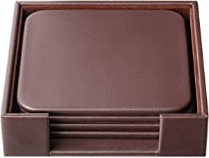 Dacasso Chocolate Brown Leather Square Coaster Set