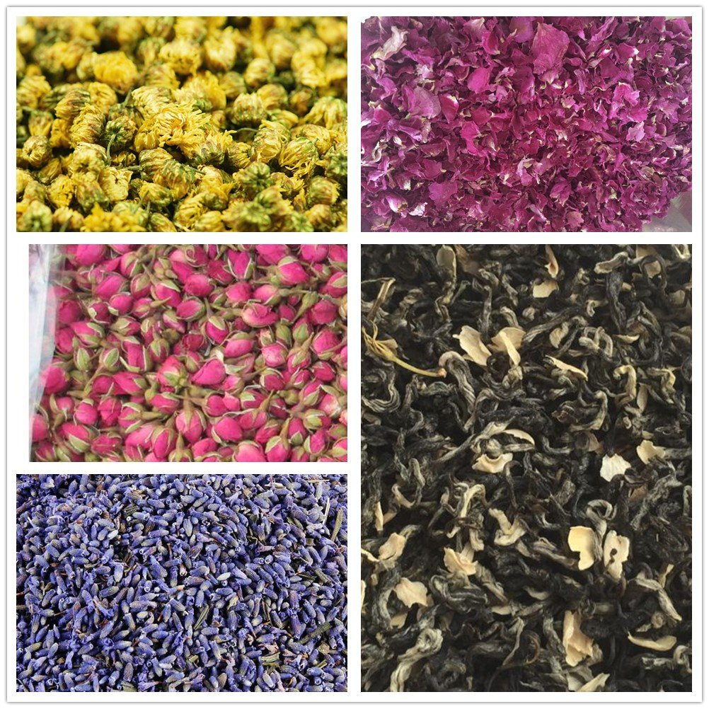 Wellcn Botanical Flowers Kit -French Lavender, Jasmine green tea, premium Chamomile, Red Rose Buds & Petals,Great for daily drink and Many Craft Projects-100% Natural No Additives
