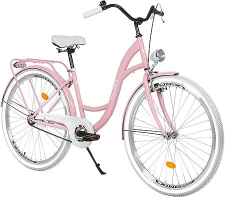 Milord Bikes Bicicleta de Confort Rosa de 3 Velocidad y 28 Pulgadas con Soporte Trasero, Bicicleta Holandesa, Bicicleta para Mujer, Bicicleta Urbana, Retro, Vintage: Amazon.es: Deportes y aire libre