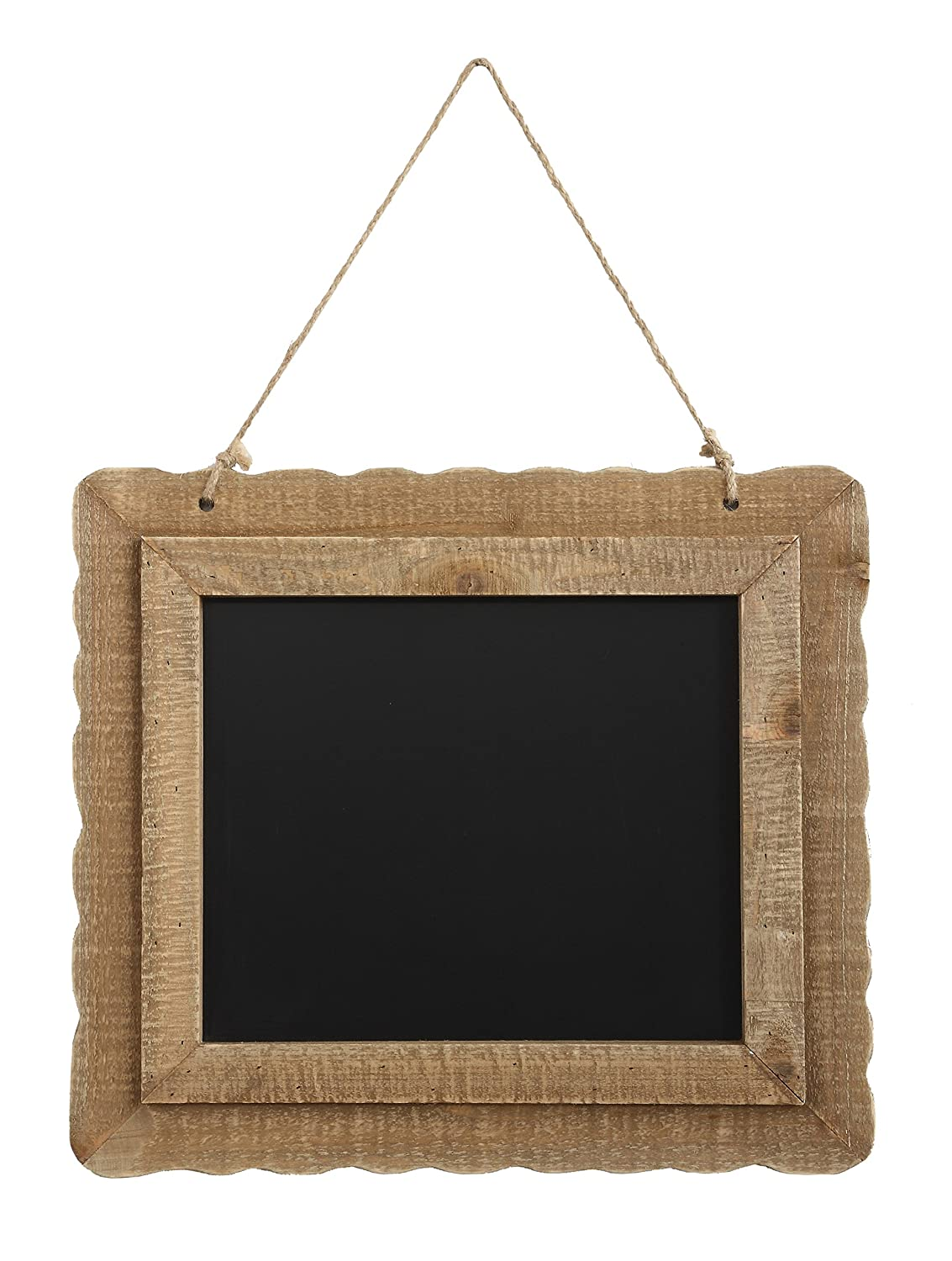 Creative Co-op Hanging Blackboard with Decorative Wood Frame