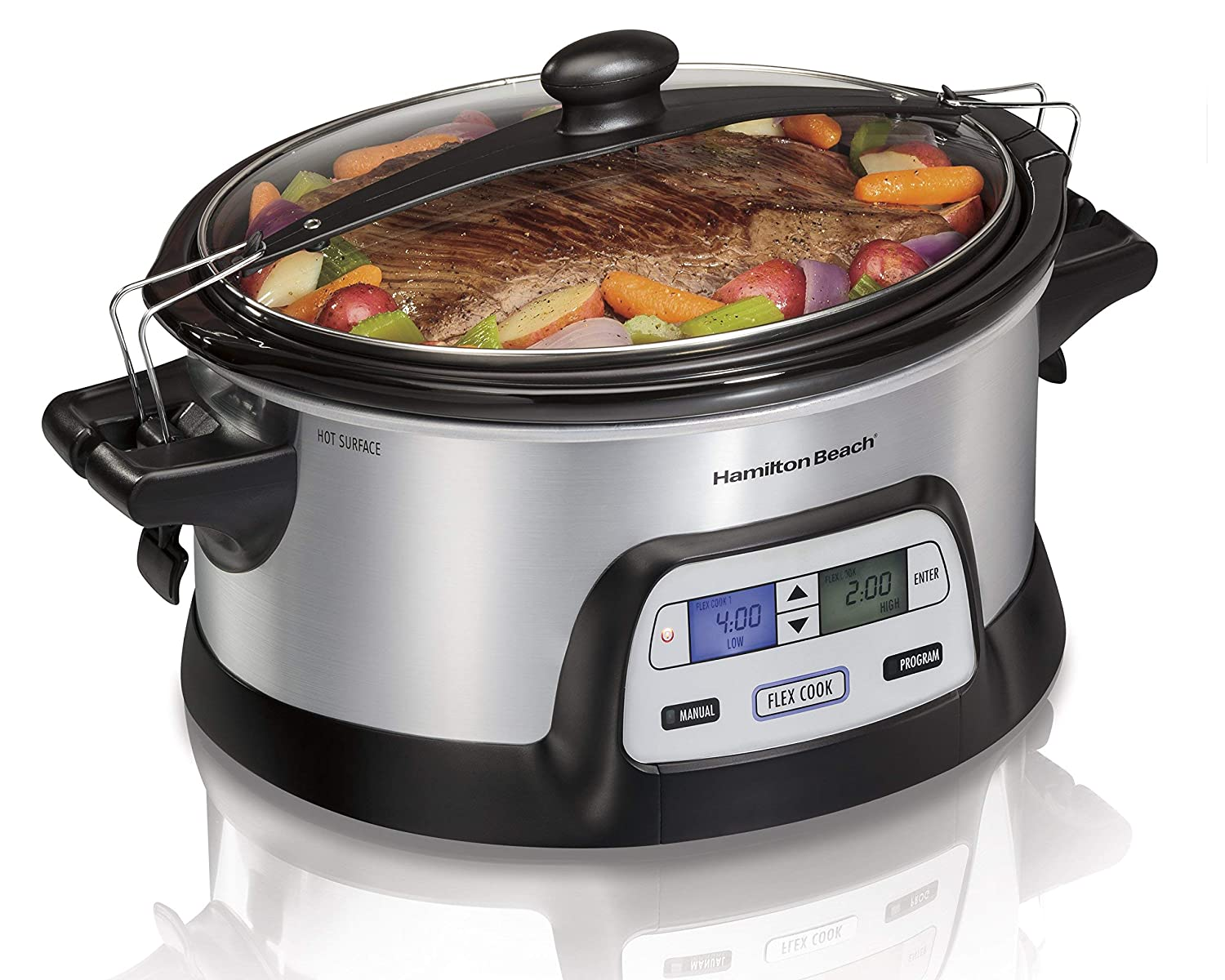 Hamilton Beach 33861 Programmable Slow Cooker, 6 Quart, Dual Digital Timer, Stainless Steel (Renewed)