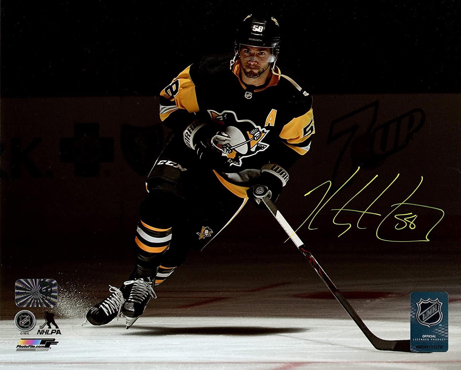 A Kris Letang Pittsburgh Penguins Signed Autographed Skate In Spotlight 8x10