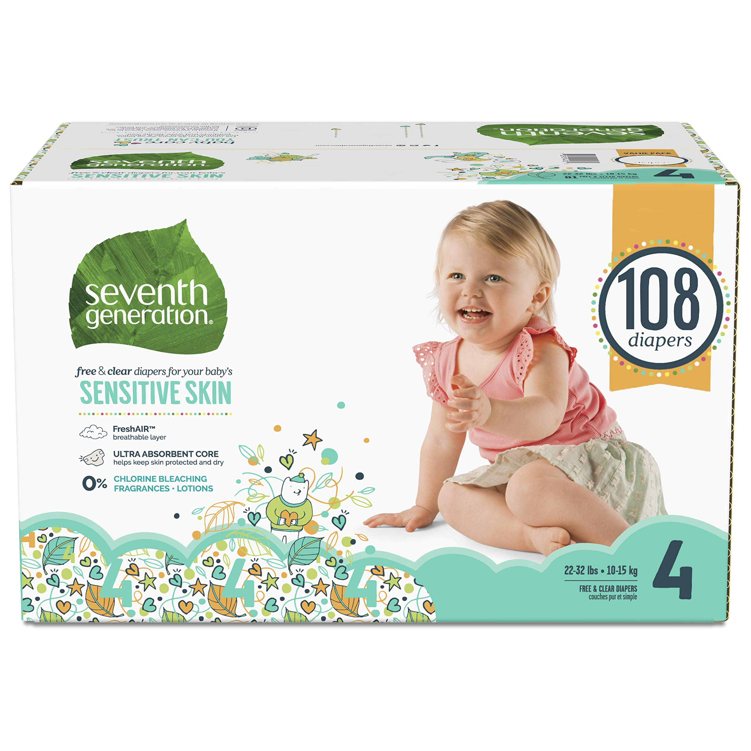 Seventh Generation Baby Diapers for Sensitive Skin, Animal Prints, Size 4, 108 Count (Packaging May Vary) by Seventh Generation