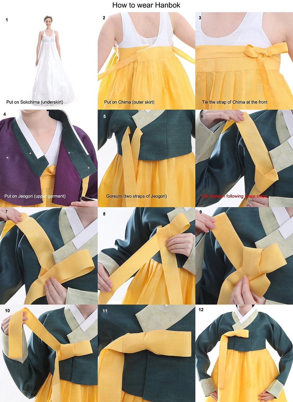 Kleid Hanbok Korea Lang Weiss Elegant Fashion: Amazon.de: Küche ...
