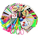 SiCoHome Scrapbooking Supplies with Paper Stickers Punches and Storage, Scrapbook DIY Photo Albums Supplies And Diary Decor Scrapbook Accessories(Original Sticker Set)