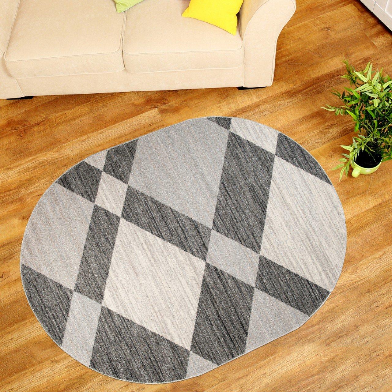 Teppich Wohnzimmer Oval - Teppiche Meliert Kurzflor Muster Karo - Farbe Grau Qualität Neu 160 x 220 cm B071WLNSZ4 Teppiche