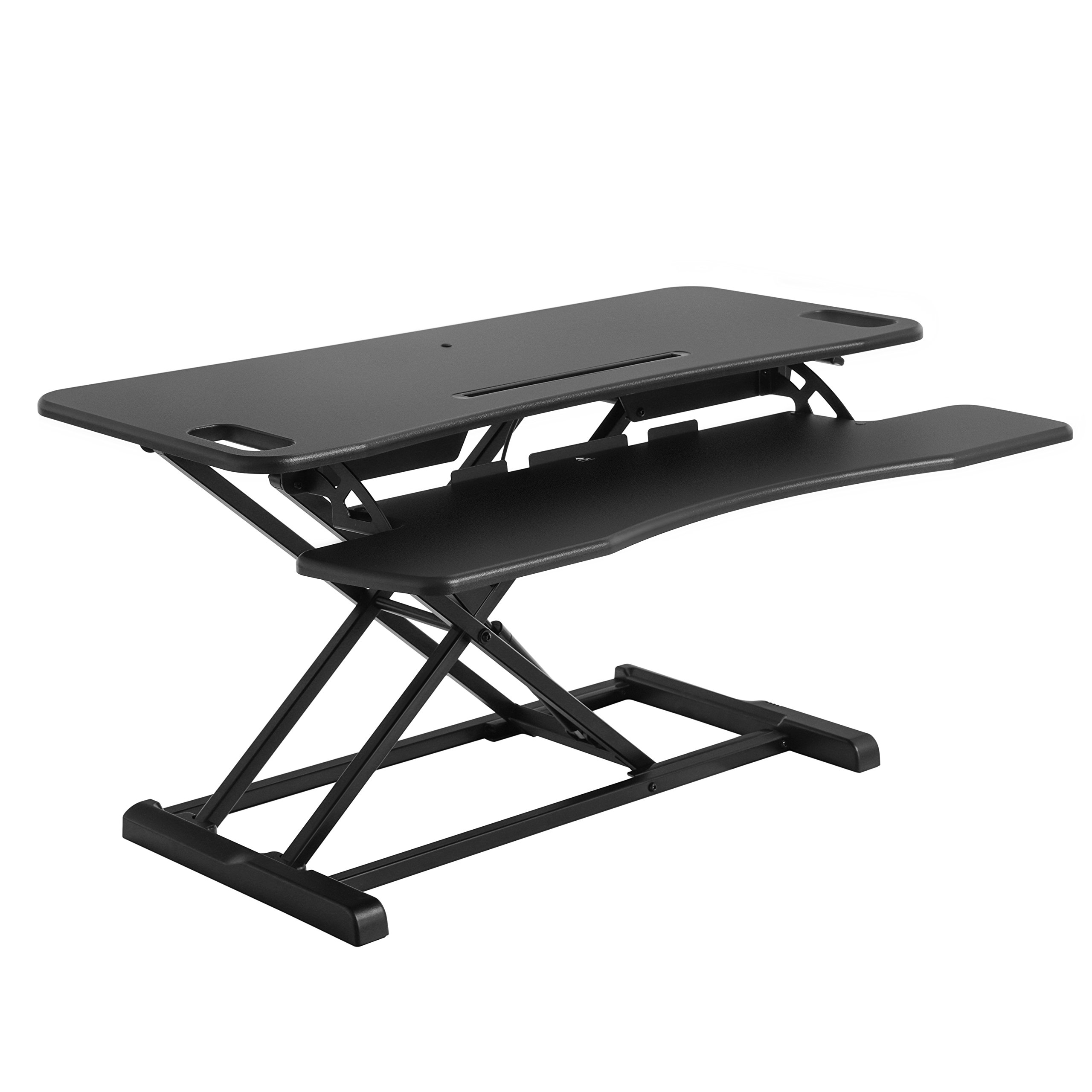 SONGMICS Standing Desk, Height Adjustable Sit Stand Desk, for Computer, Laptop and Office Supply, with Removable Keyboard Tray, Black ULSD06BK