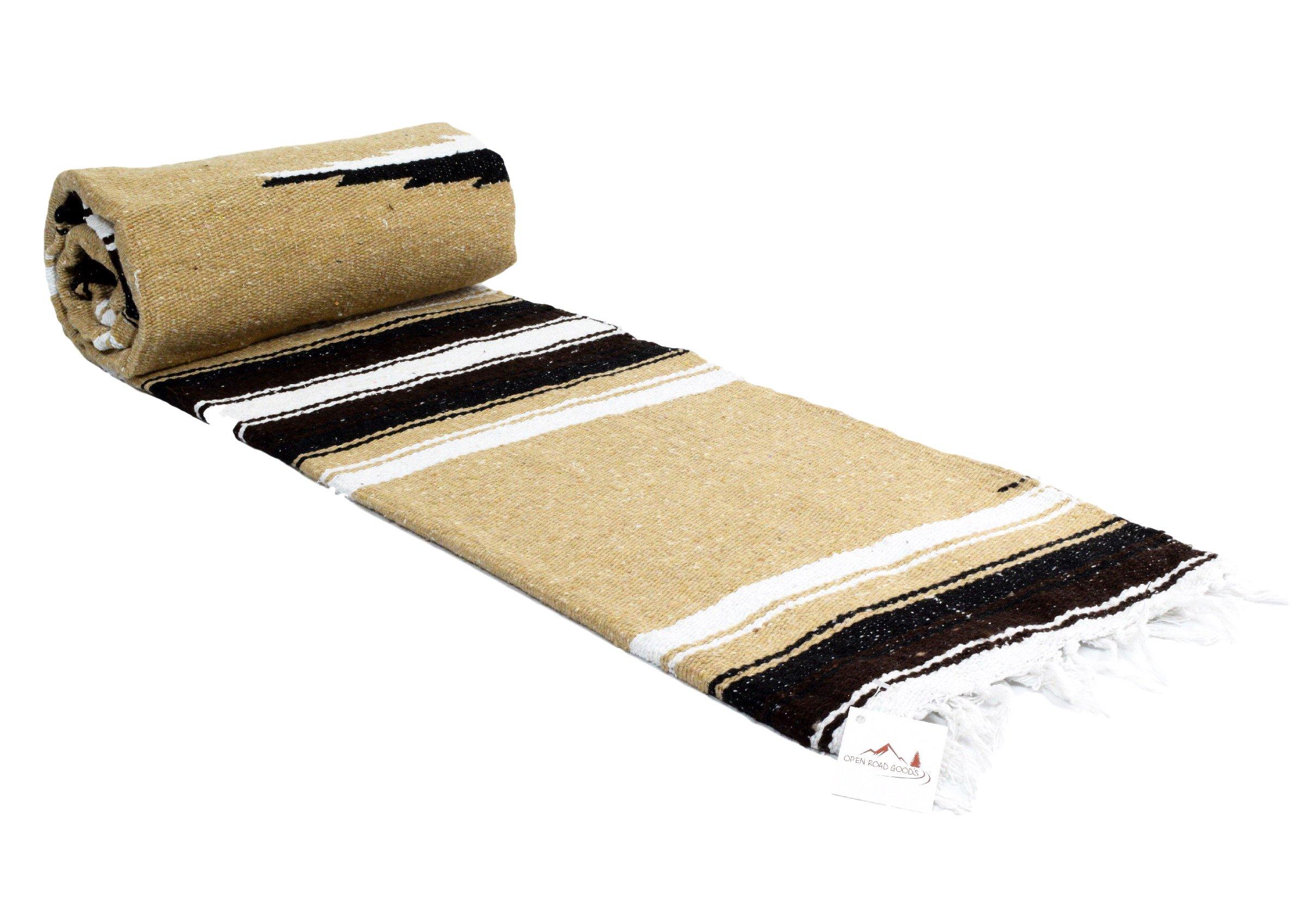 Open Road Goods Tan/Khaki/Brown Thick Diamond Mexican Navajo Yoga Blanket, Extra Thick Serape with Black and White Stripes