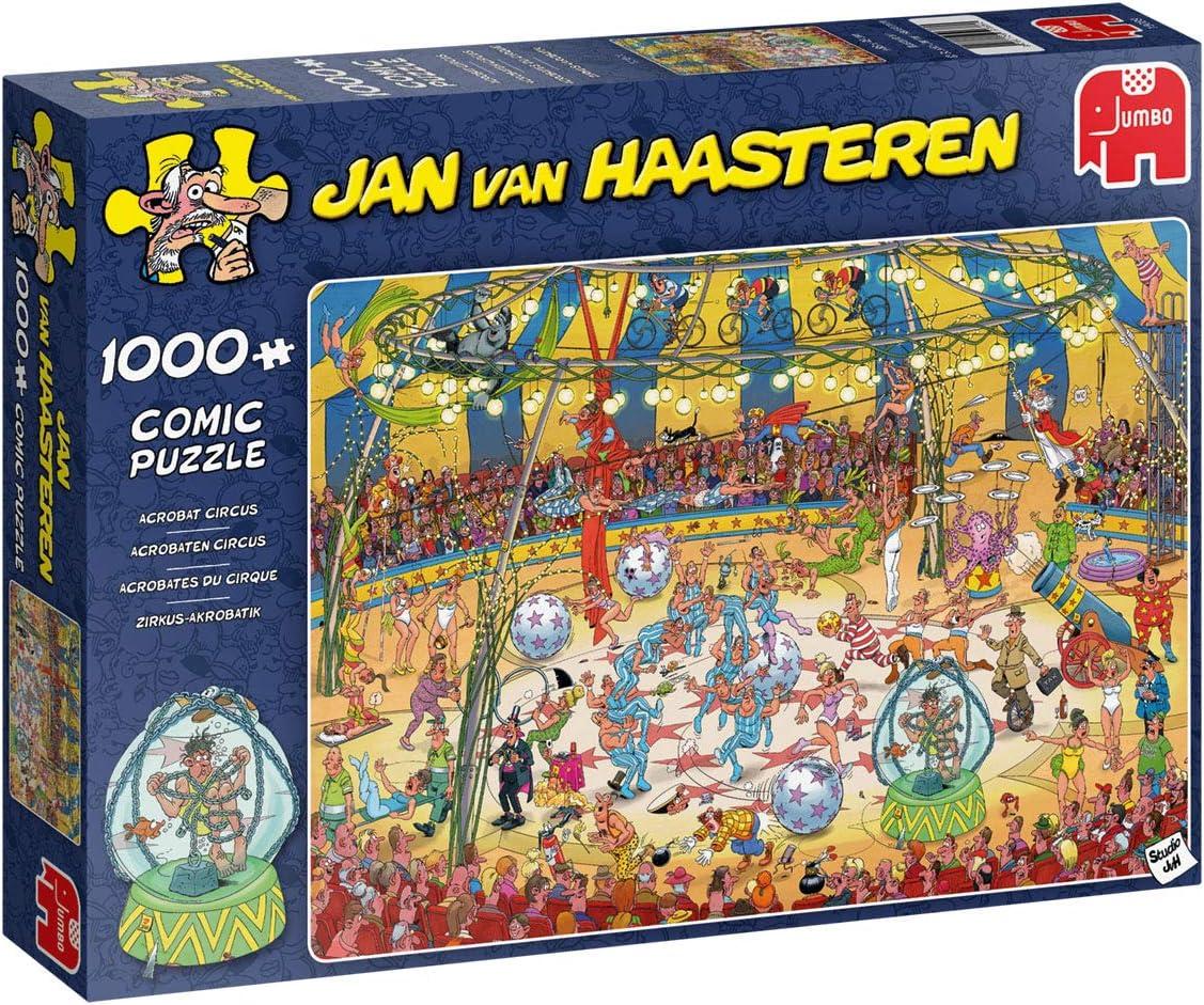 Jumbo 19089 Jan Van Haasteren-Acrobat Circus 1000 Piece Jigsaw Puzzle, Multi