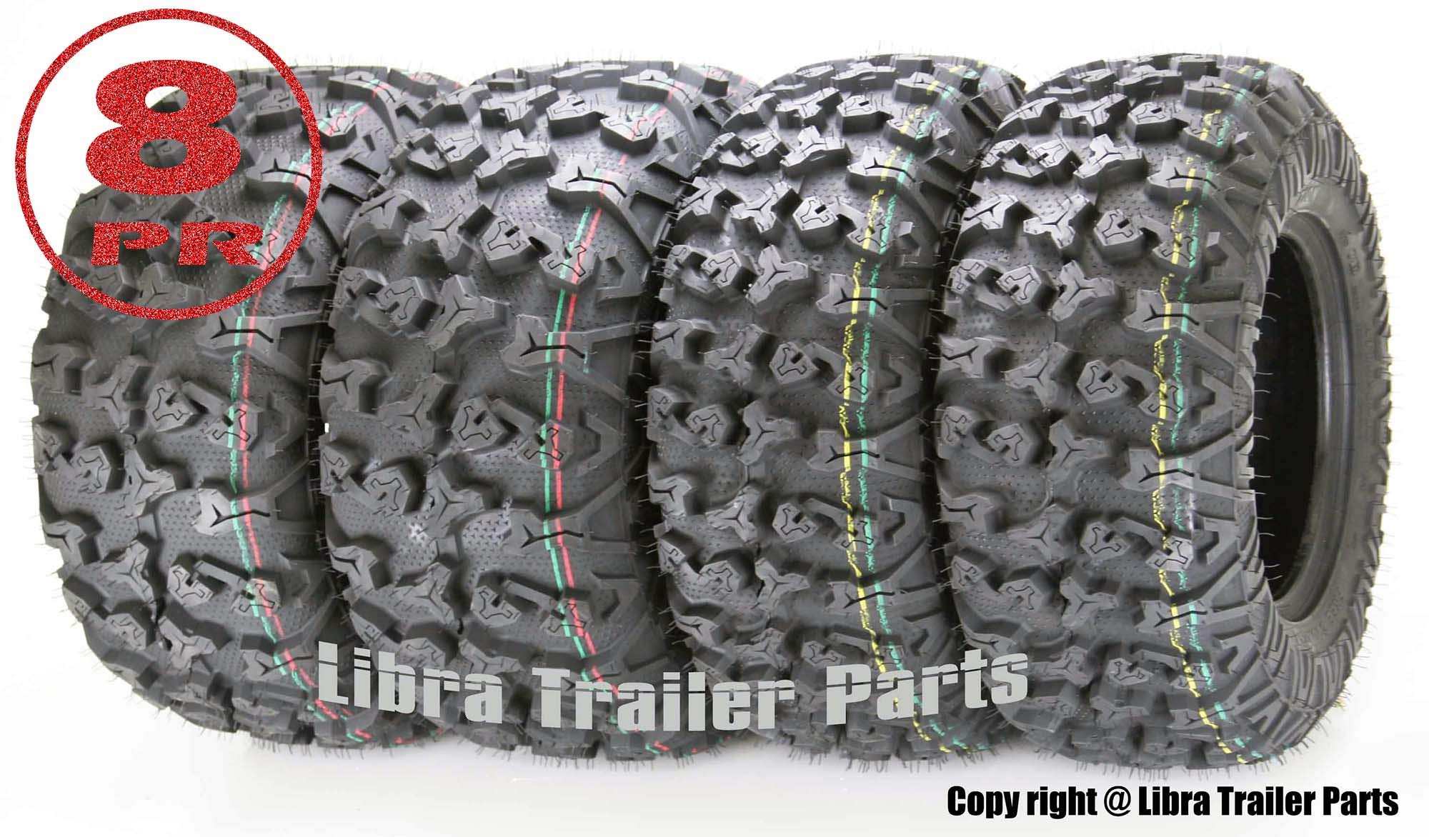 Set of 4 Premium FREE COUNTRY ATV/UTV Tires 25x8-12 Front & 25x10-12 Rear / 8PR w/Side Scuff Guard by Free Country