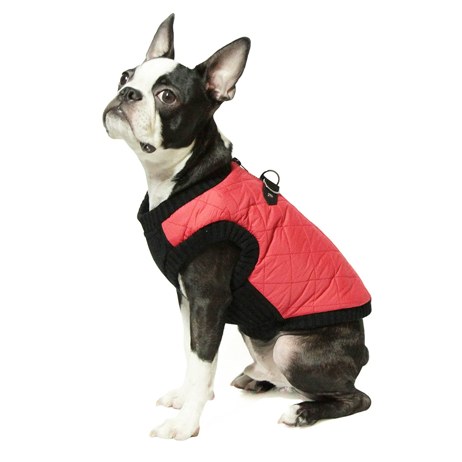 Gooby Fashion Quilted Bomber Dog Vest with Stretchable Chest, Red, Small