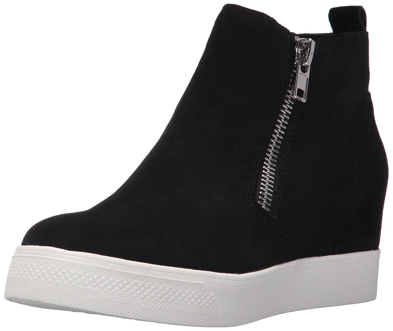 Steve Madden Women's Wedgie Sneaker B072C3TGYZ 8 B(M) US|Black Suede