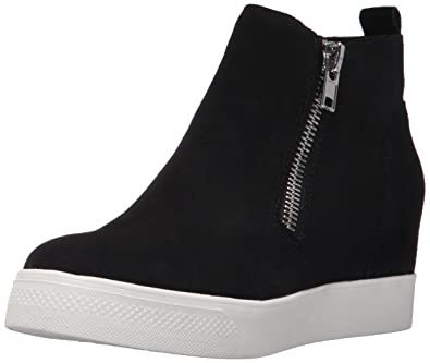 Steve Madden Women's Wedgie Sneaker, Black Suede, ...