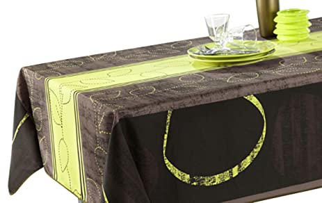 71 X 71 Inch Square Tablecloth Black And Green Modern, Stain Resistant,  Spill
