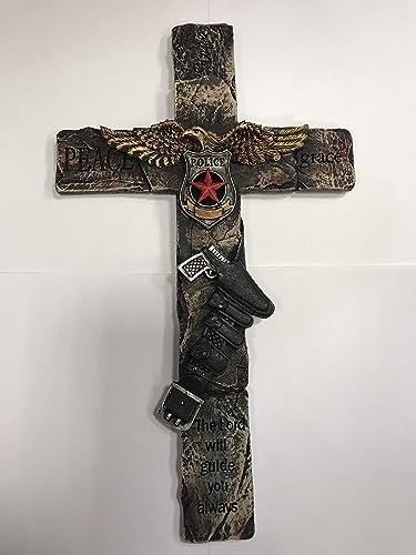Policeman Decorative Wall Cross Holster Gun Police Department Emblem Eagle Decor 12