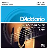 3-Pack D'Addario EJ36 12-String Bronze Acoustic Guitar Strings