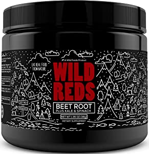 Wild Beet Root Powder - Organic Reds Superfood Powder with Antioxidant Blend, Spirulina, Beet Juice Powder, Cranberry, Acai Fruit Powder & More - Mix into Drinks for Natural Energy Boost - 7 Servings