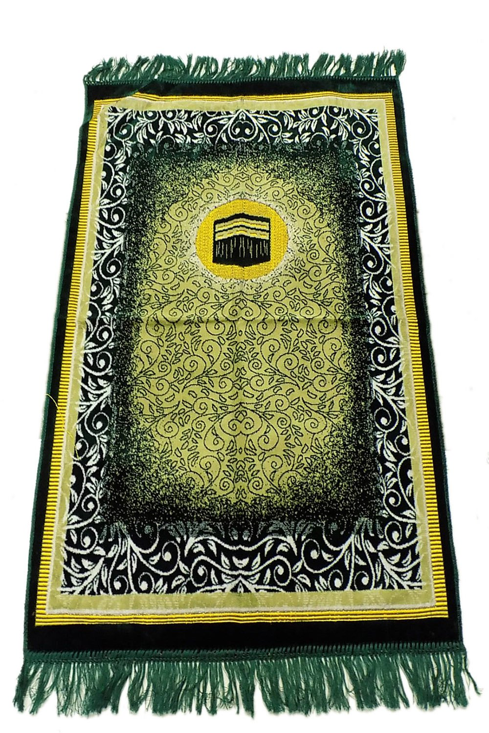 Prayer Rug Made in Turkey with Fine Soft Velvet Superior Quality Green