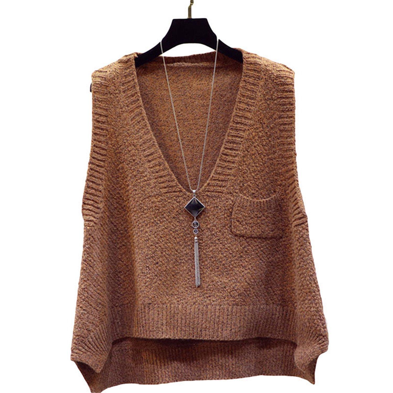 New Sweater Vest Coat Spring and Autumn Korean Style Women V-Neck Wool Vest Khaki One Size