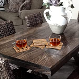 Mango Wood Coaster Set  Wood Coasters Pallet Shape Natural Mango Finish Wood Coasters  Mango Wood Coasters for Your Drinks, Beverages and Wine/Bar Glasses. (Natural, Set of 4)   4 x 4 x 0.3 - Inches
