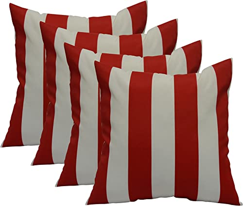 RSH DECOR Set of 4 in Outdoor 17 Square Decorative Throw Pillows Richloom Solarium Outdoor Cabana Stripe Red w White