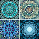 mifengda 4 Pack DIY 5D Diamond Painting Kits Full Drill Diamond Embroidery Paintings Pictures by Number for Adults Kids for Home Wall Decor Study Room, Flower Painting (25X25CM/9.8X9.8inch)