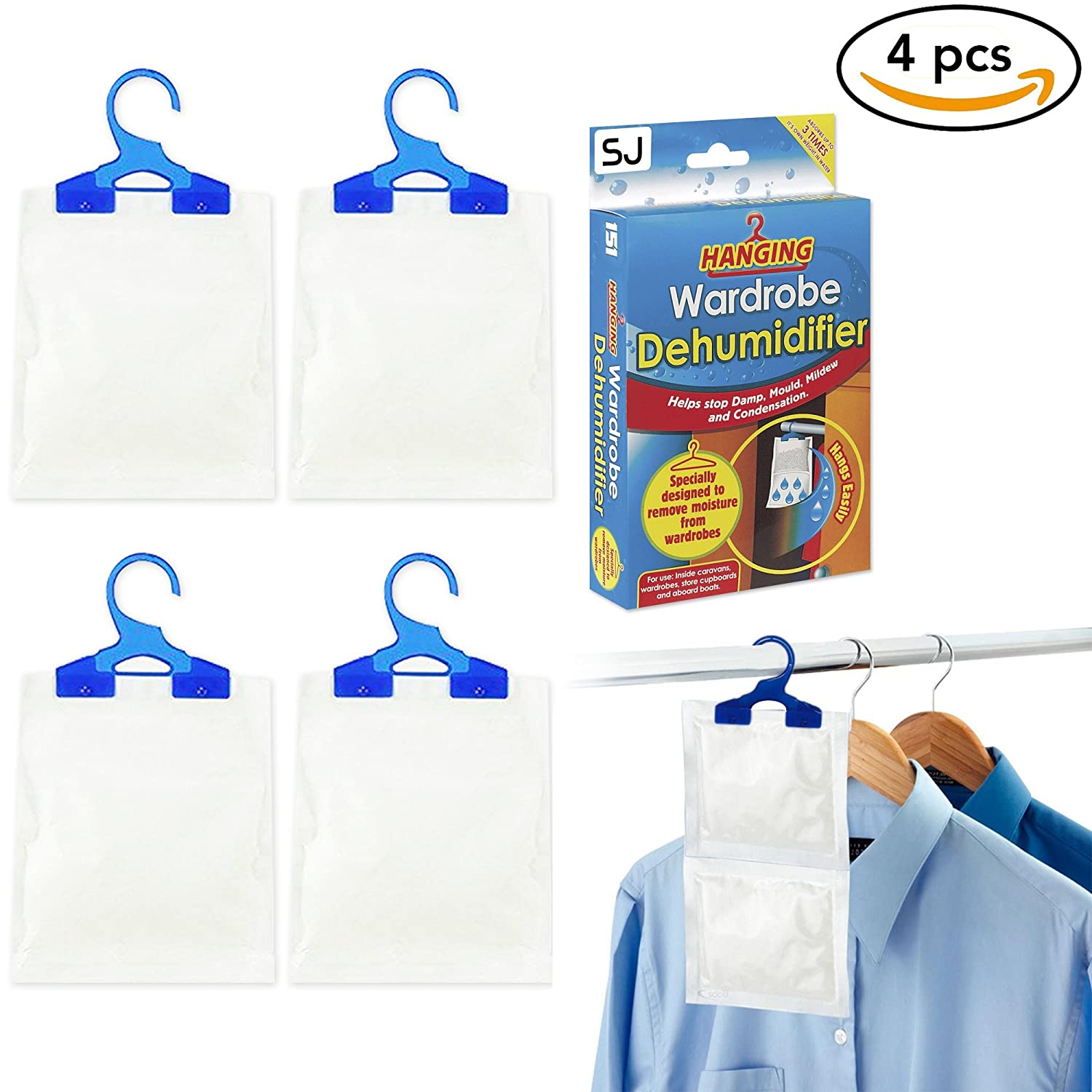 SpiffyJack Hanging Dehumidifier For Moisture Wardrobe Bags Helps Stop Mustiness and Damp (4 Pack)