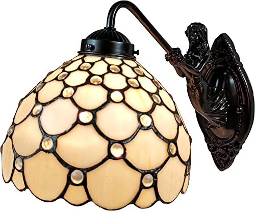 Amora Lighting Tiffany Style Lamp White Jeweled Mermaid Arch 1 Light Stained Glass Wall Fixture Vintage Antique