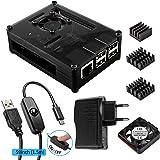 Smraza Case per Raspberry Pi 3 & 2 Modello B -Nero Case con 5V/2.5A Alimentatore, Ventilatore, Alluminio Dissipatore con USB Cavo con Interrupteur On Off