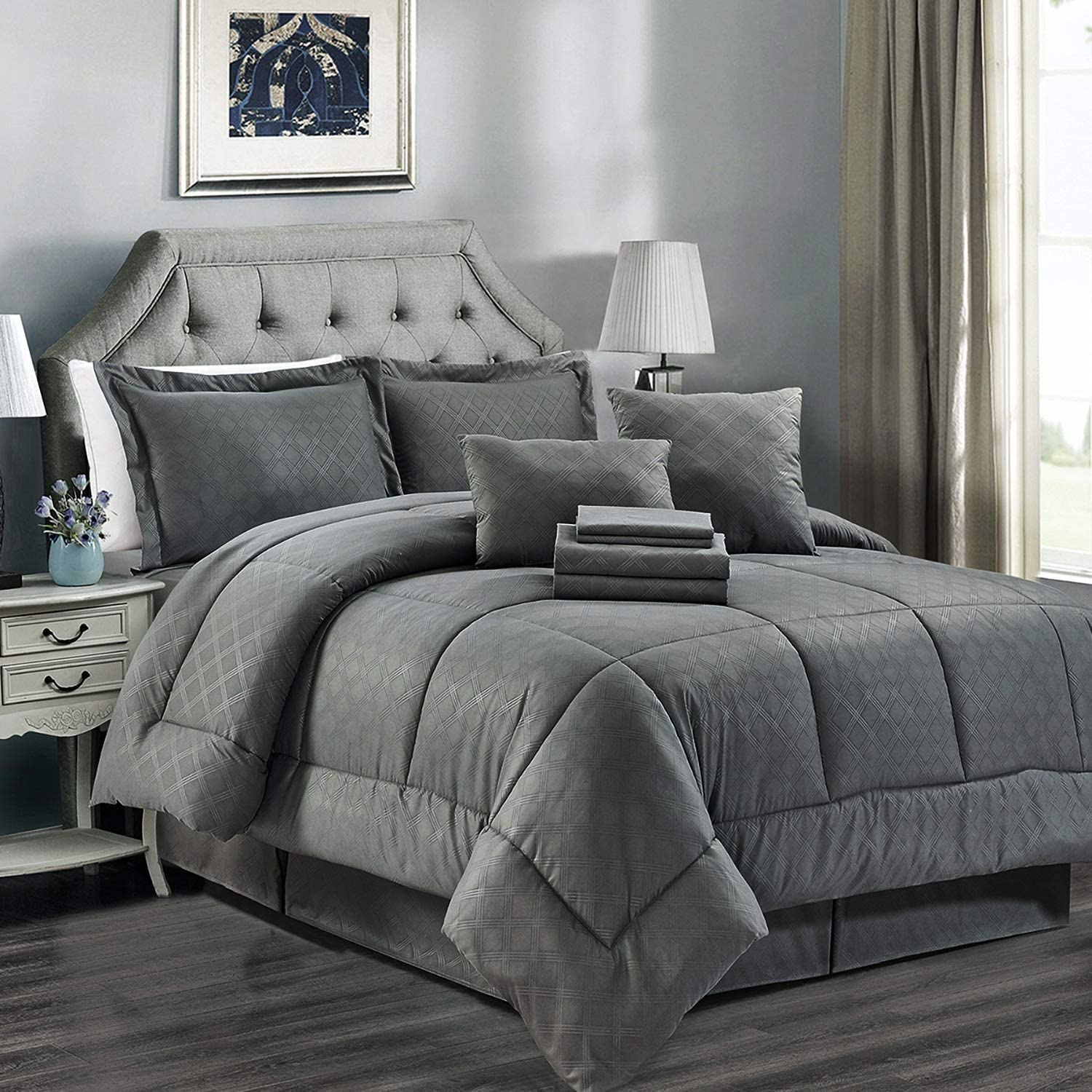 JML Comforter Set, 8 Piece Microfiber Bedding Comforter Sets with Shams - Luxury Solid Color Quilted Embroidered Pattern, Perfect for Any Bed Room or Guest Room (Grey, Twin)